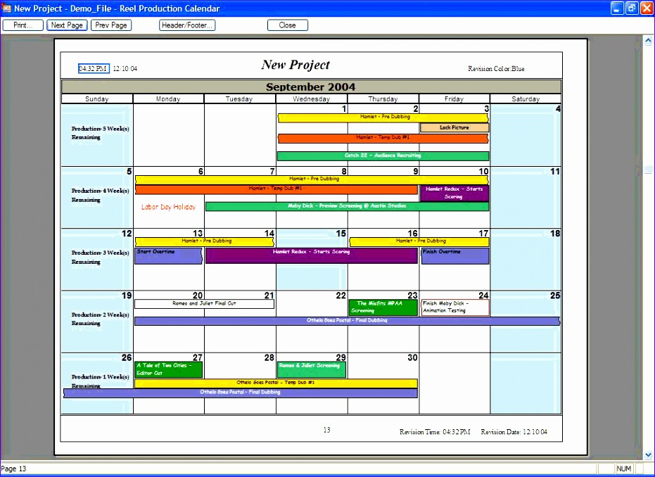 Excel Production Schedule Template ExcelTemplates - Production calendar template