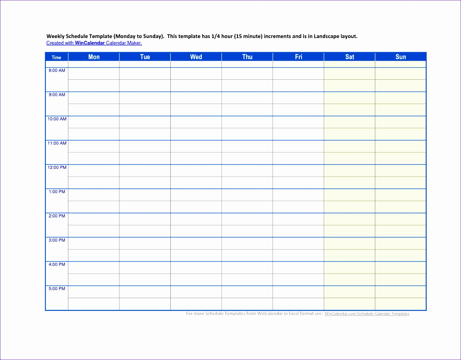 5 calendar schedule template