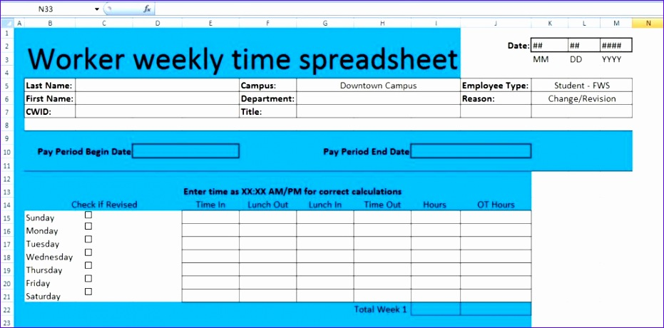 worker weekly time spreadsheet template xls