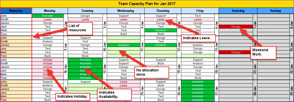 monthly team task planning calendar