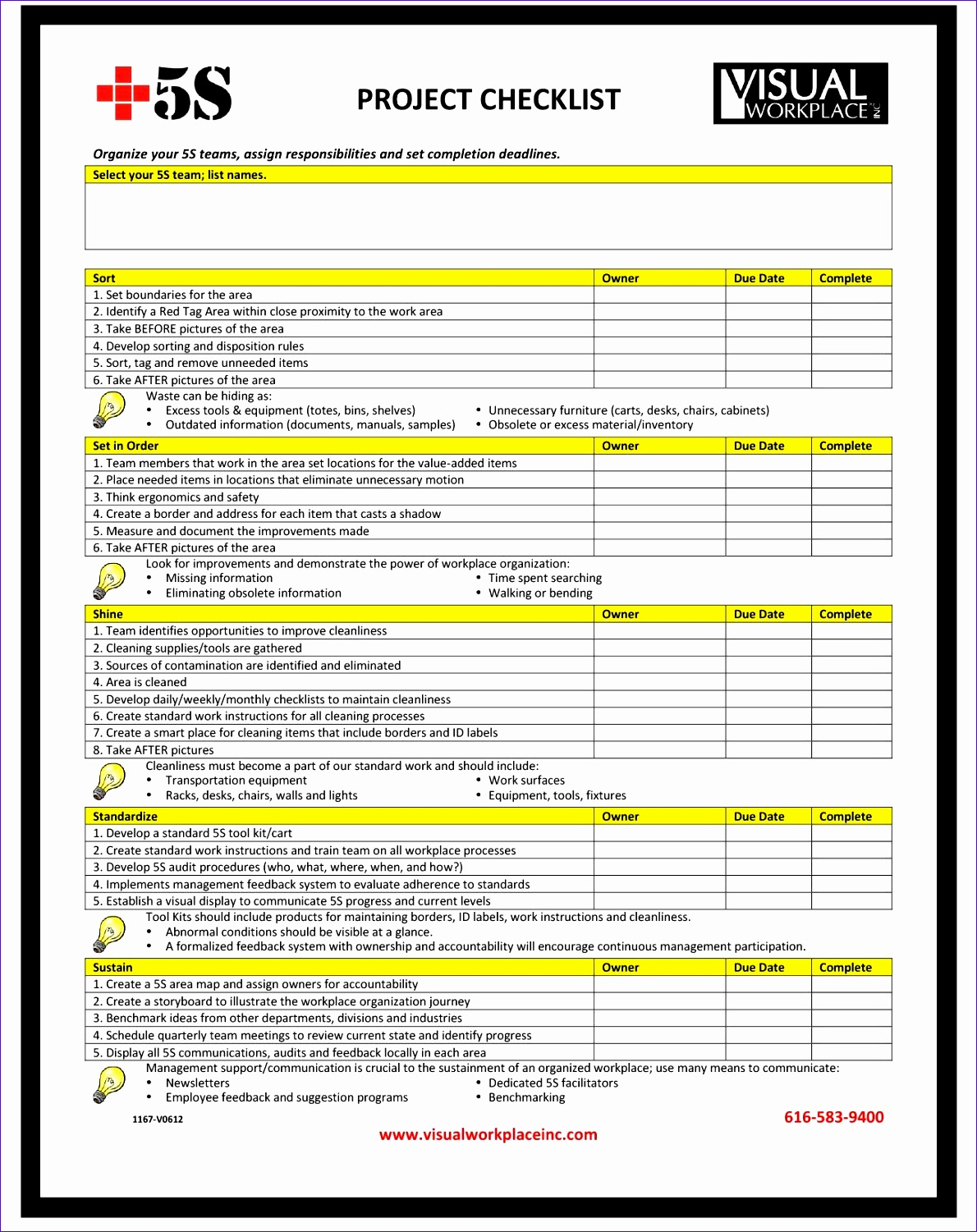 excel project checklist template