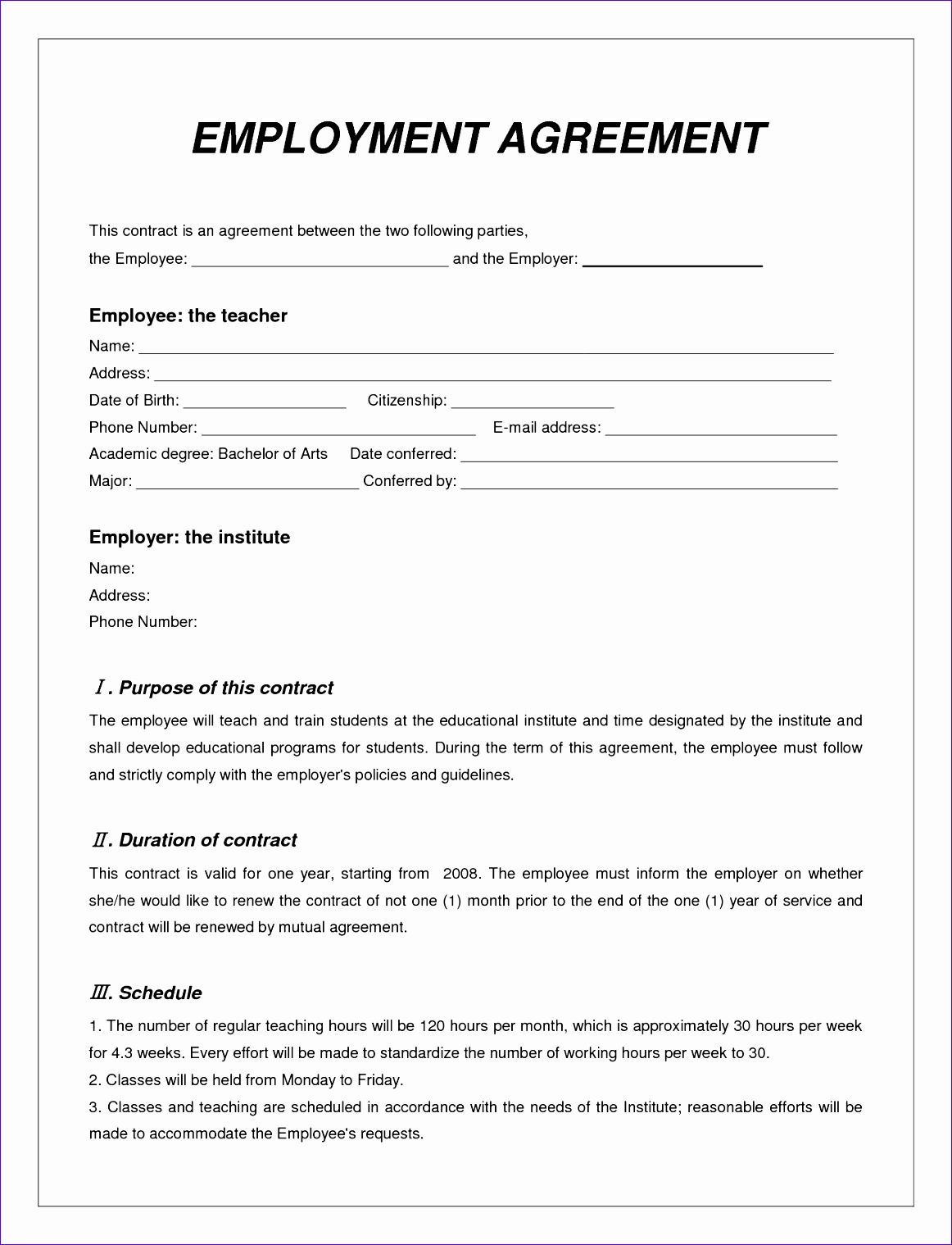 8 Employment Contract Template 11621519  Purchase Order For Services Template