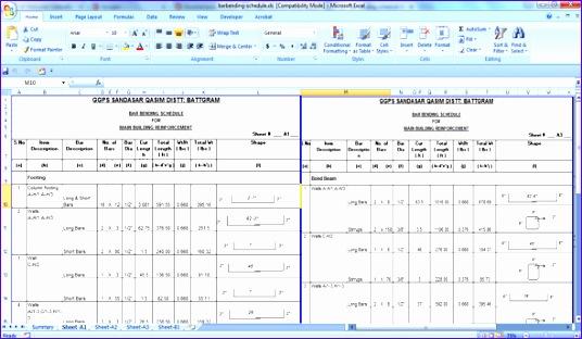 bar bending schedule for building reinforcement