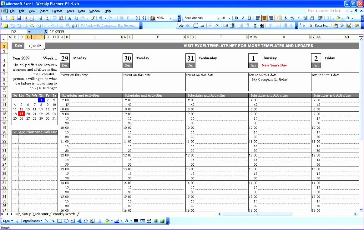 weekly planner excel template 1164736