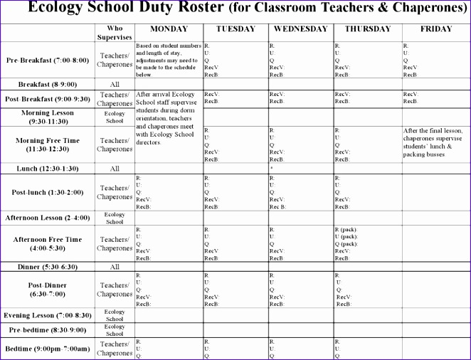 Classroom Duty Roster Design ~ Excel quote templates exceltemplates
