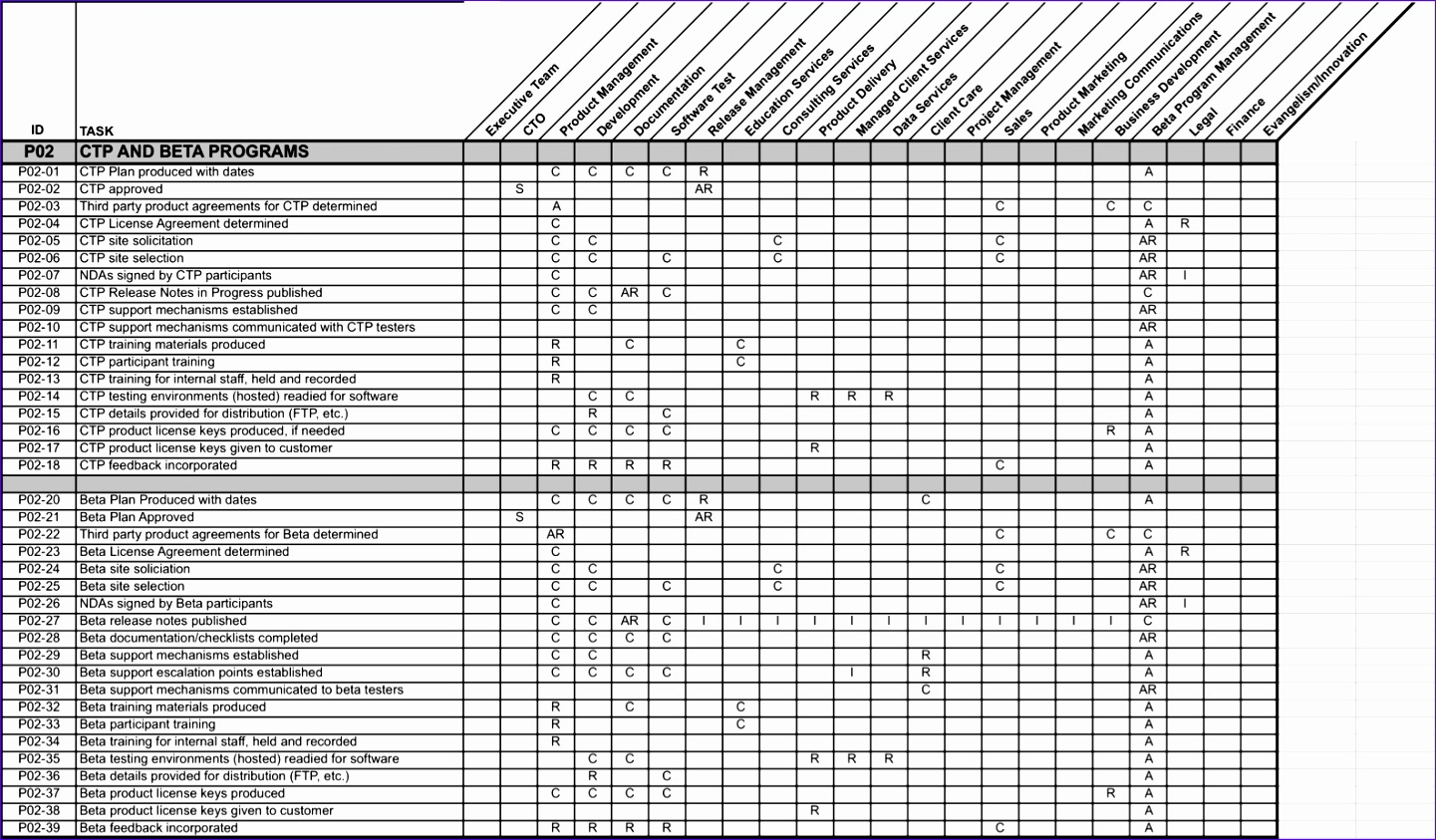 14 excel raci template exceltemplates exceltemplates for Raci chart template xls