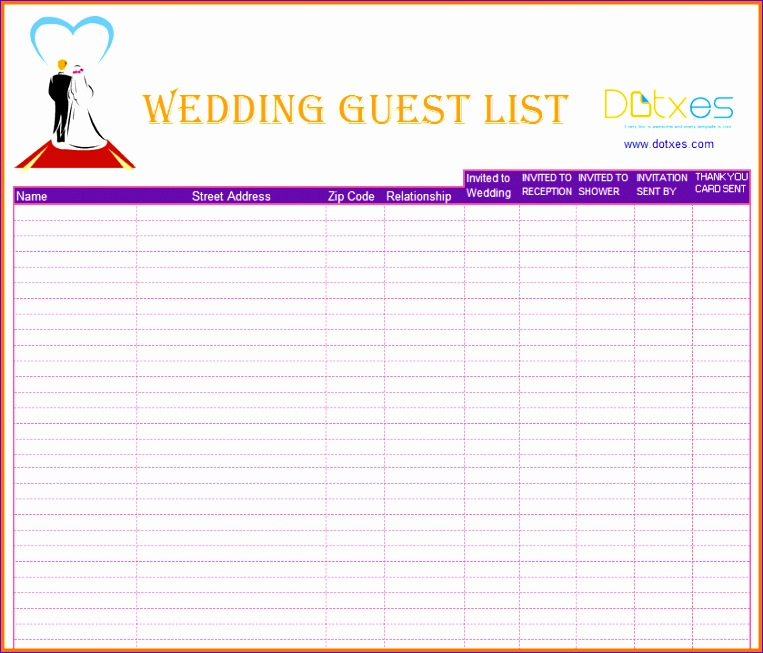 3 wedding guest list printable 763653