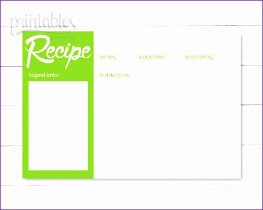 printable recipe card green recipe cards 518414