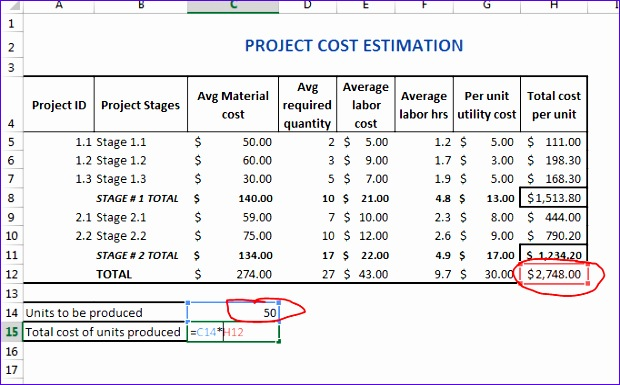 457 project cost estimator template