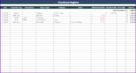 excel checkbook register template
