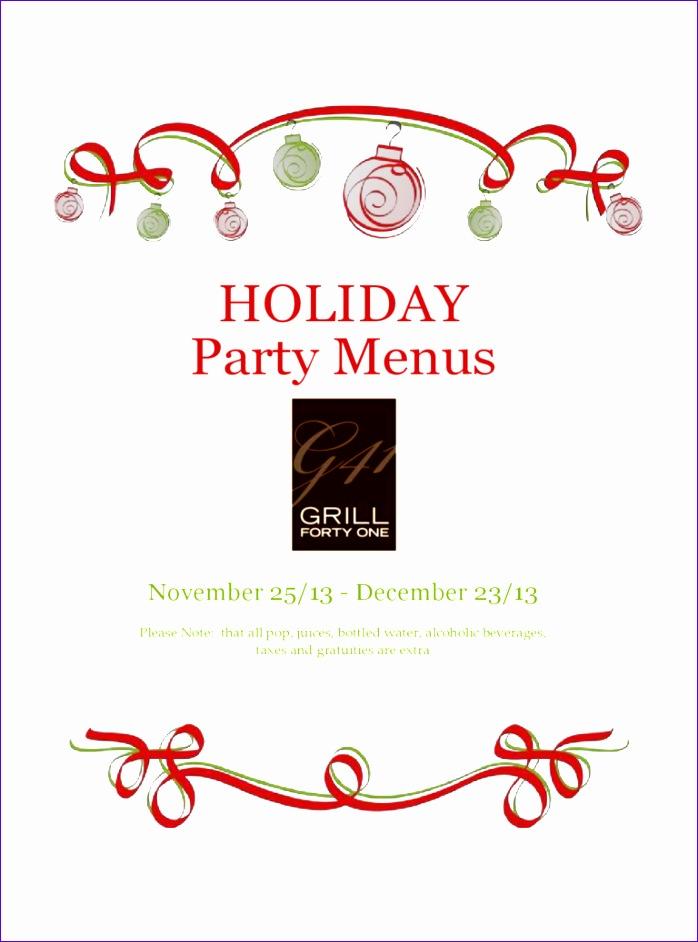holiday menu template 698942