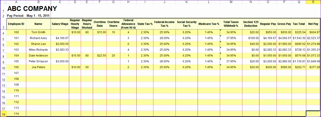 post excel payroll spreadsheet