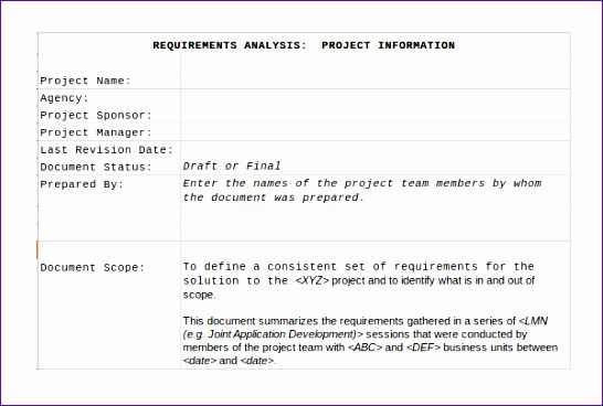 Excel Requirements Template  Exceltemplates  Exceltemplates