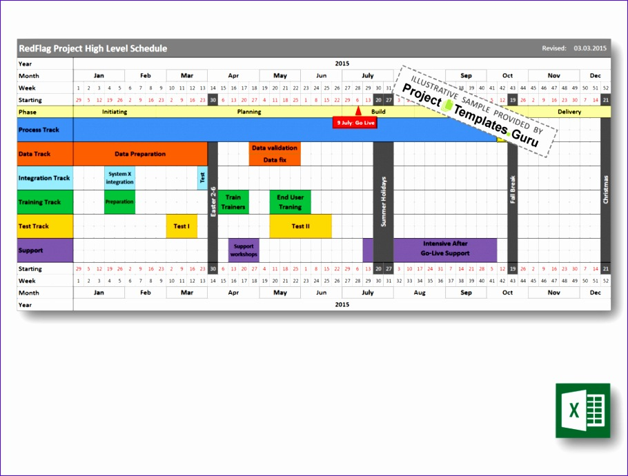 Excel Roadmap Template Ihclb Unique High Level Schedule Project Templates Guru 1000750