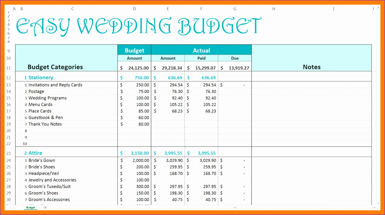 7 wedding excel spreadsheet 1304728