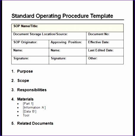 standard operating procedure sop templates 455460