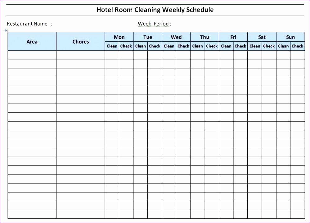 hotel room cleaning schedule