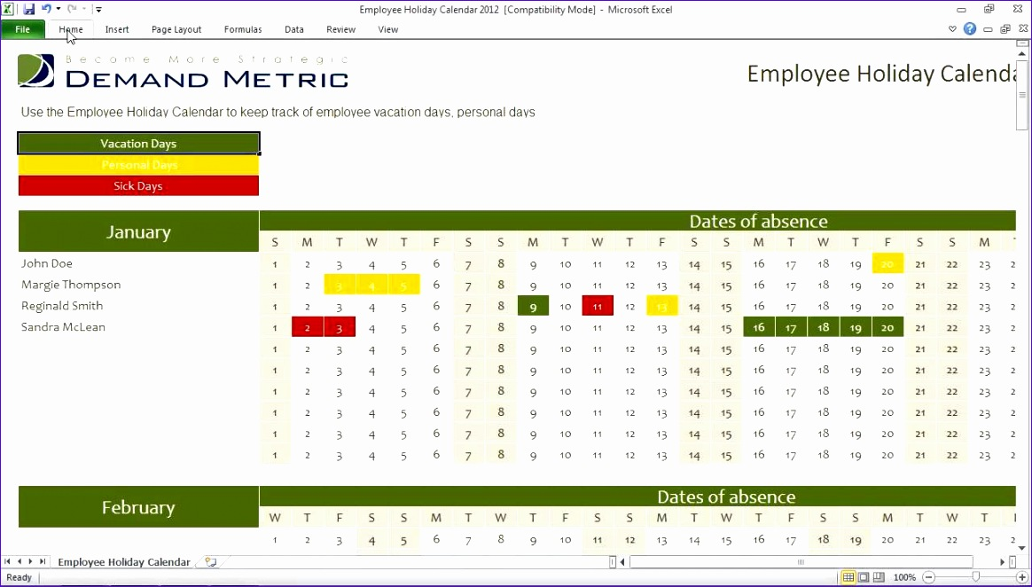 employee vacation calendar 1164662