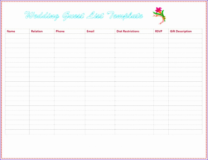 wedding guest list template 850 698537