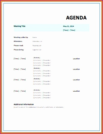 meeting itinerary template 362468