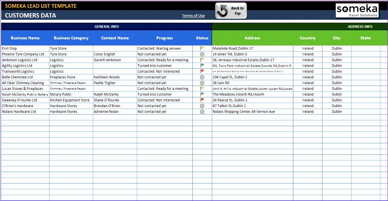 lead list template