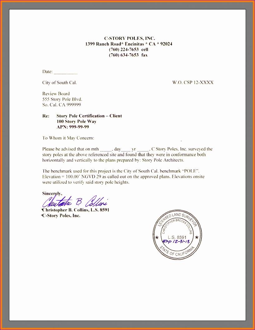 8 letter of certification