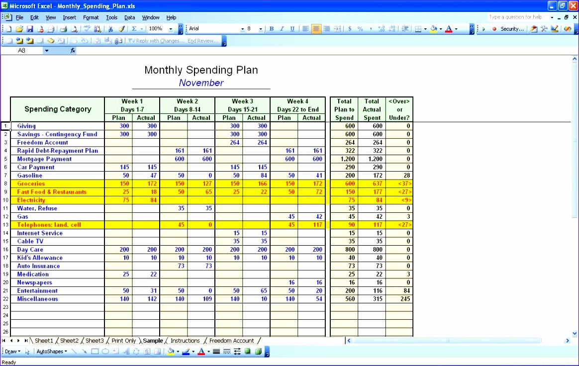 monthly expenses worksheet excel 1164736
