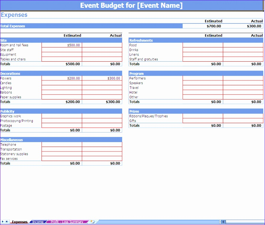 event bud ing excel template