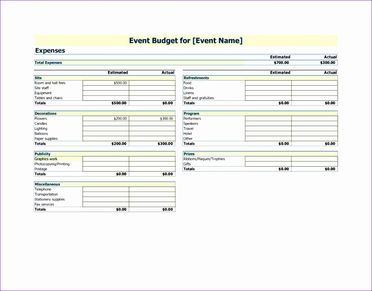 estimated actual total site refreshments event excel event bud template planning bud template excel free as spreadsheet 1186926