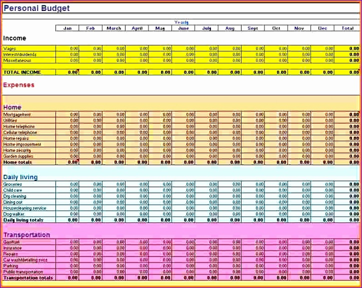 6 excel bud spreadsheet templates 724577
