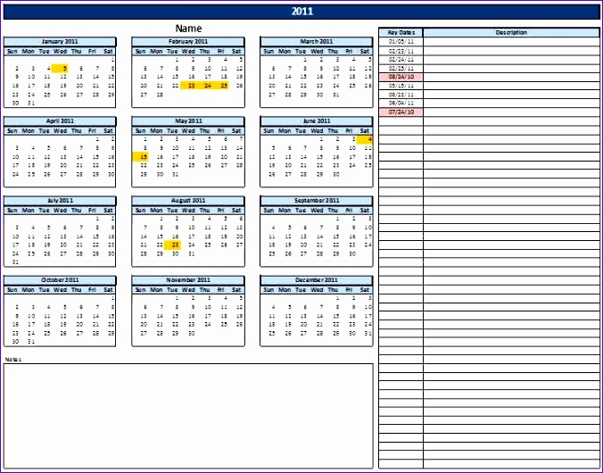 calendar with key dates 676530