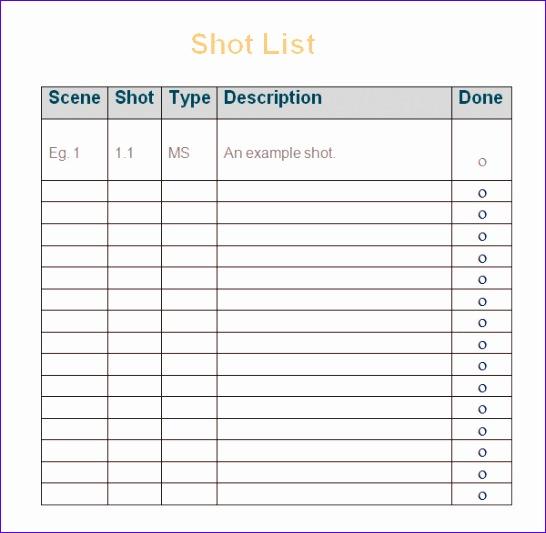 shot list template 546533