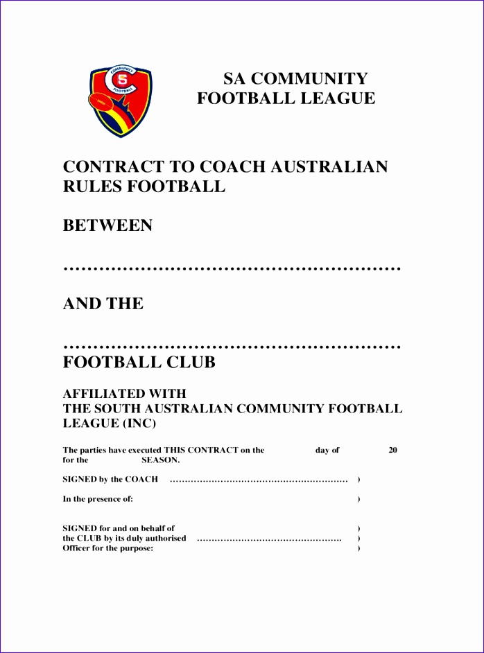 Football Contract Template  Resume Ideas  NamanasaCom