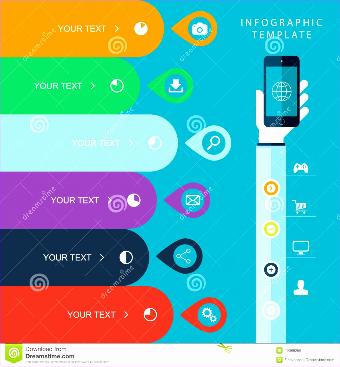 stock illustration info graphic template hand holding phones marketing plan sales chart illustration work flow layout diagram number options image 11831278