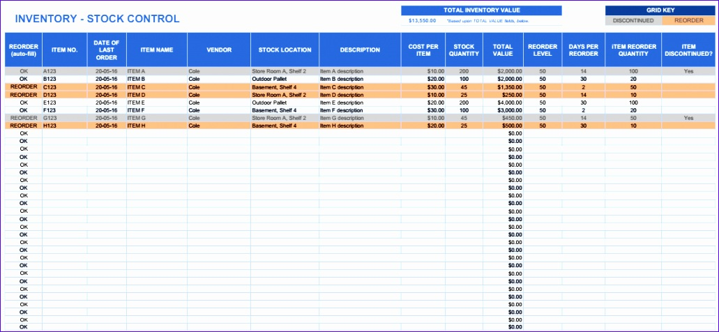 warehouse stock control excel template