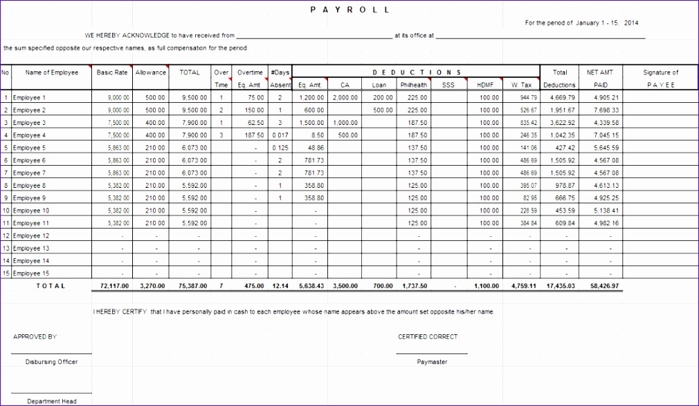 Payroll System in Excel for 30 or less Employees 1010588