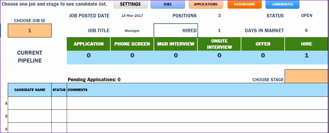 Job Search Excel Template