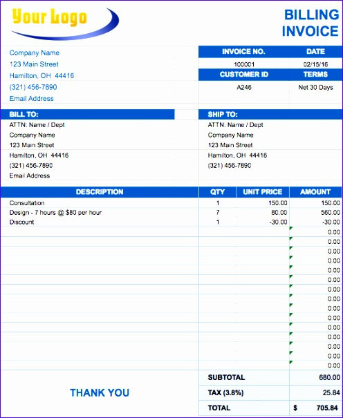 invoice templates excel 2010 2927 496605