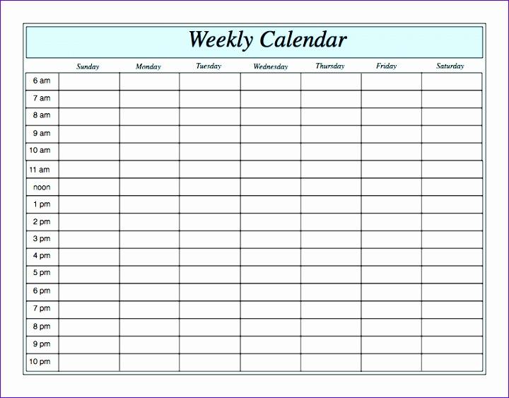 weekly calendar by hour 156 720563