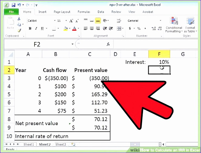 Calculate an IRR in Excel 662503