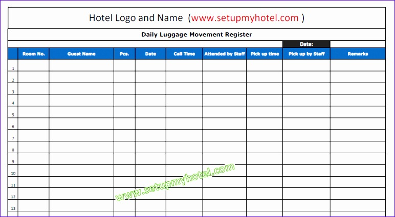 340 bell desk daily luggage movement register