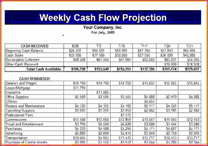 cash flow projection template 714502