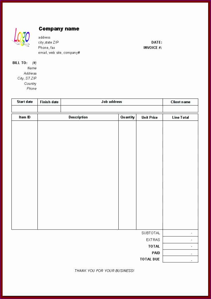 invoice template free excel 7381047