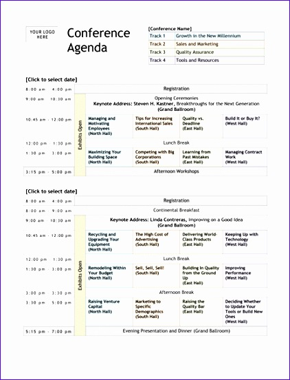 conference agenda template excel 3 2 422552