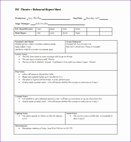 theatre rehearsal report sheet pdf 532579