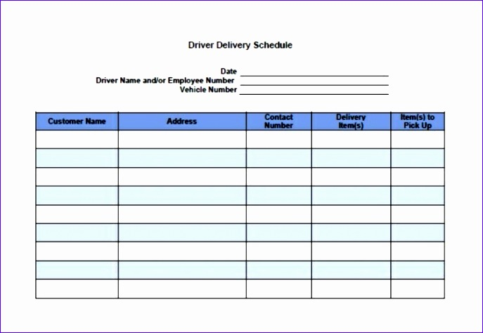 basic driver delivery schedule template 687474