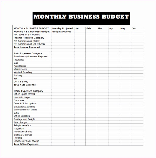 monthly business bud and expense sheet template sample