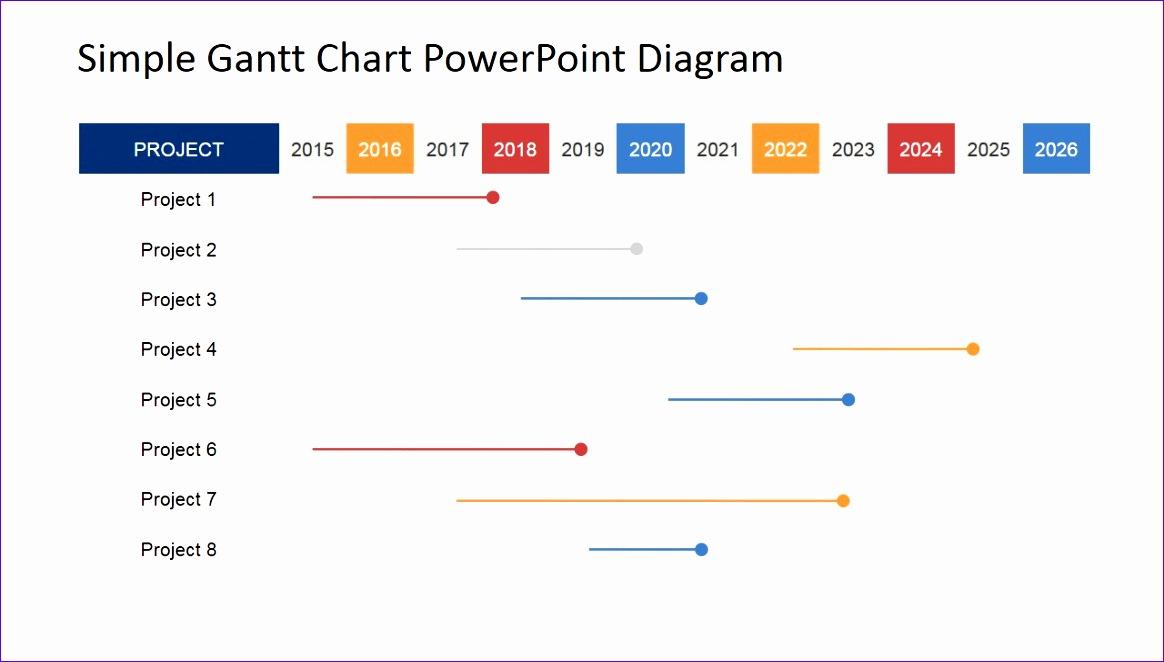 simple gantt chart powerpoint diagram 1164662