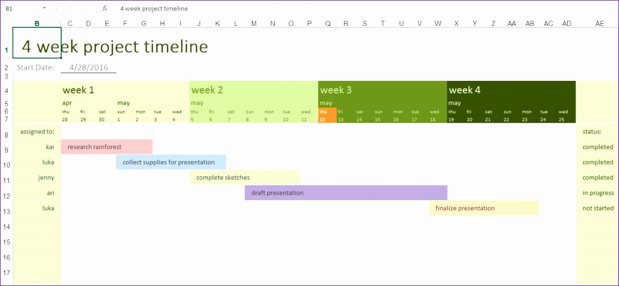 4 week project timeline microsoft excel template