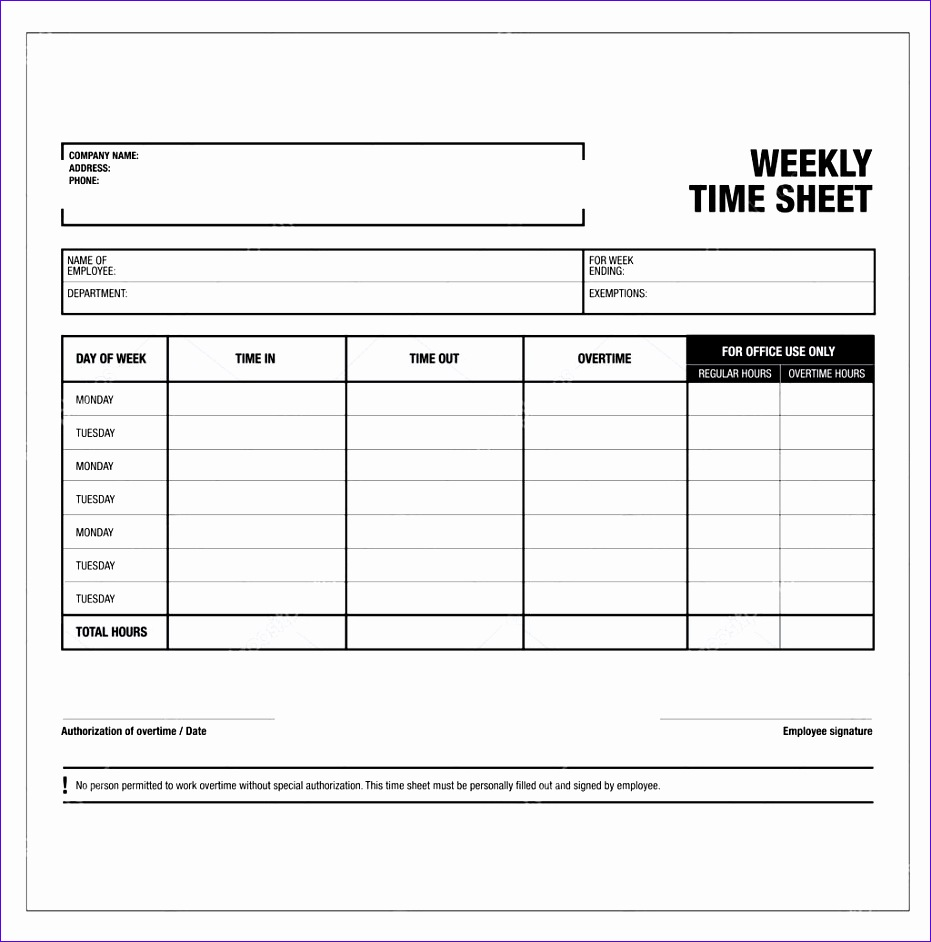 6 Excel Template For Timesheet